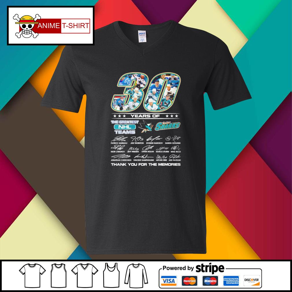 30 Years of The greatest NHL teams San Jose Sharks signature v-neck-t-shirt