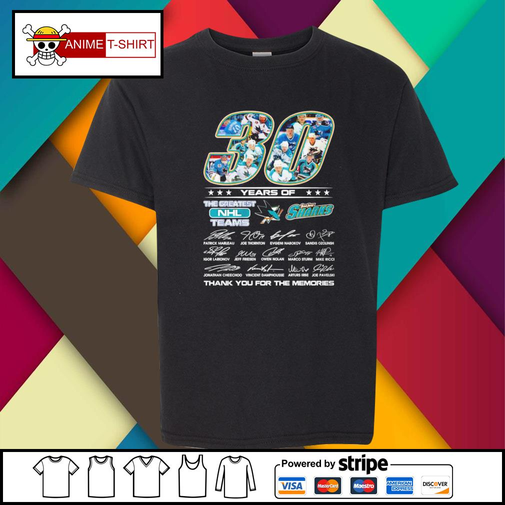 30 Years of The greatest NHL teams San Jose Sharks signature youth-tee