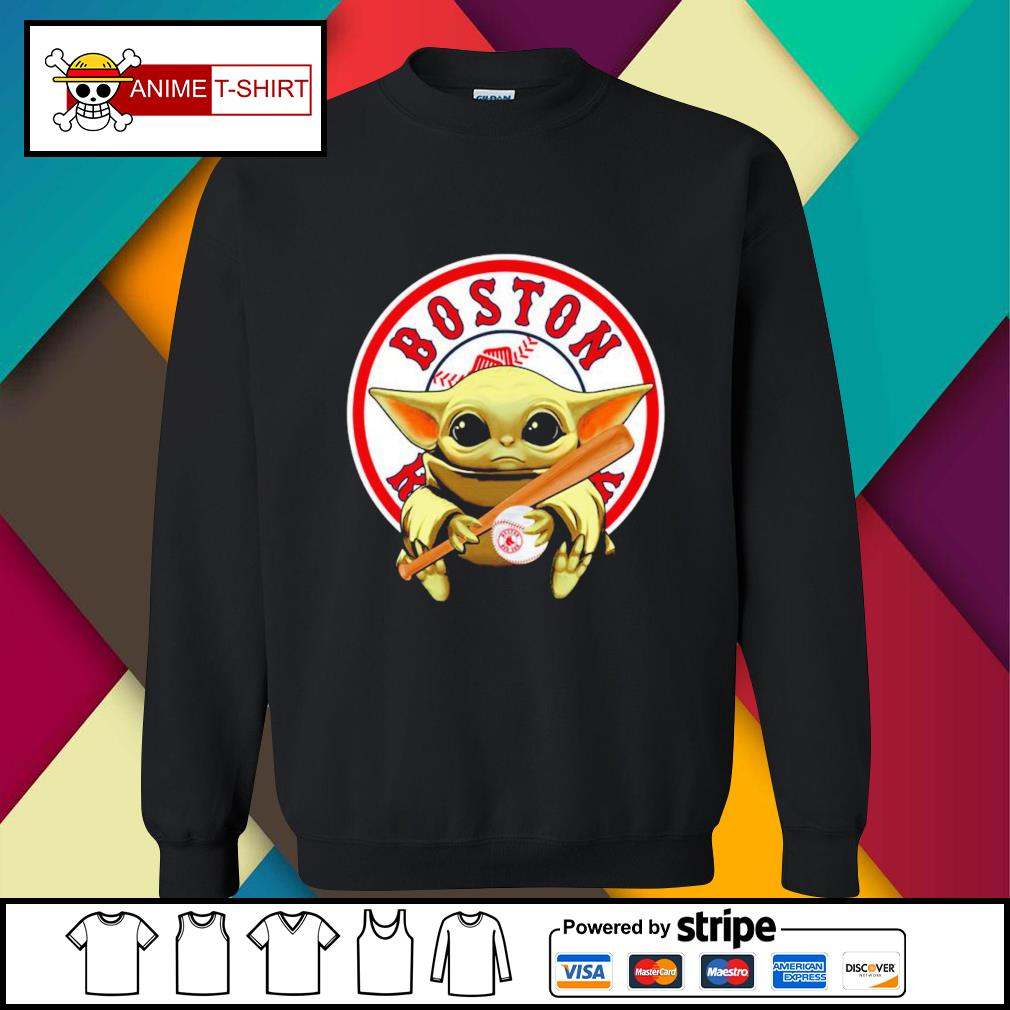 Baby Yoda hug Baseball Boston Red Sox sweater