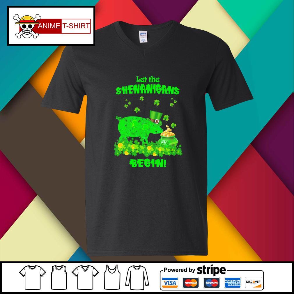 St Patrick's pig let the shenanigans begin gift for v-neck-t-shirt