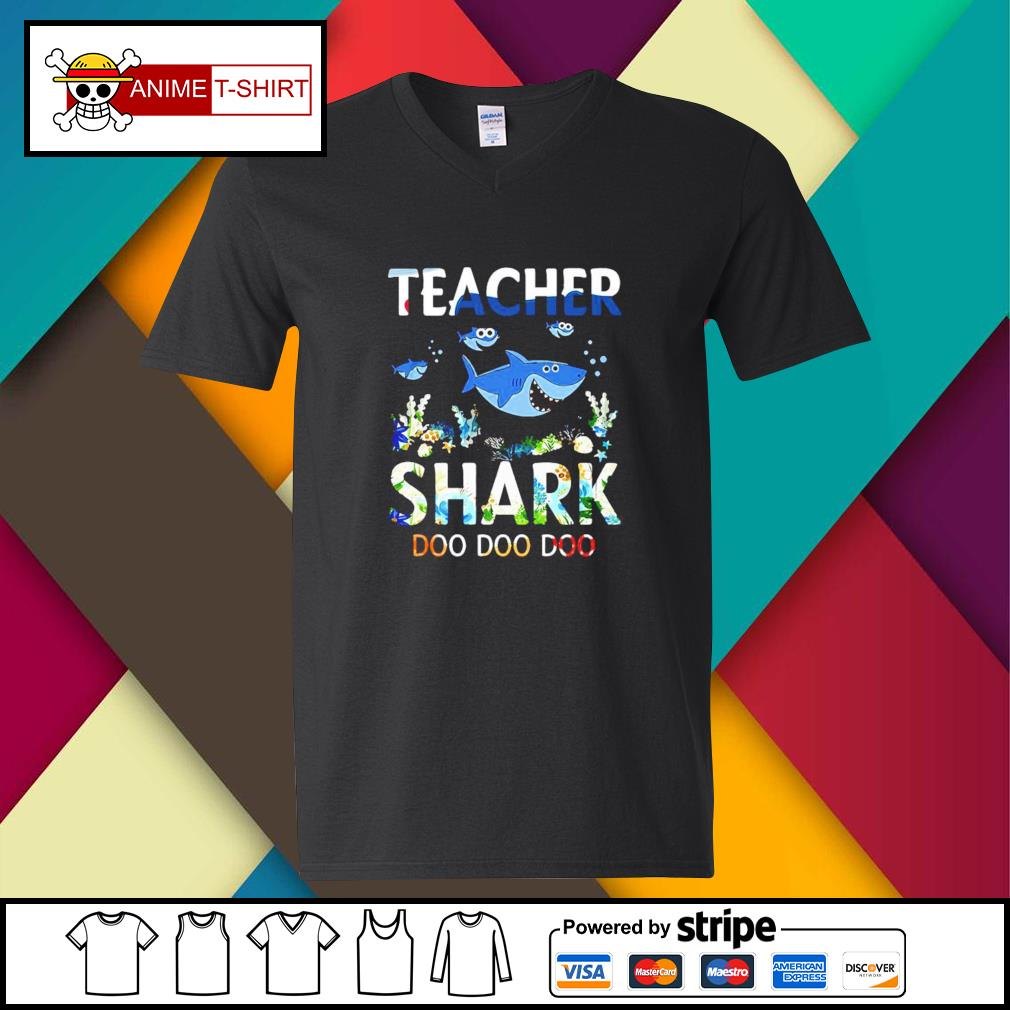 Teacher shark doo doo doo v-neck-t-shirt