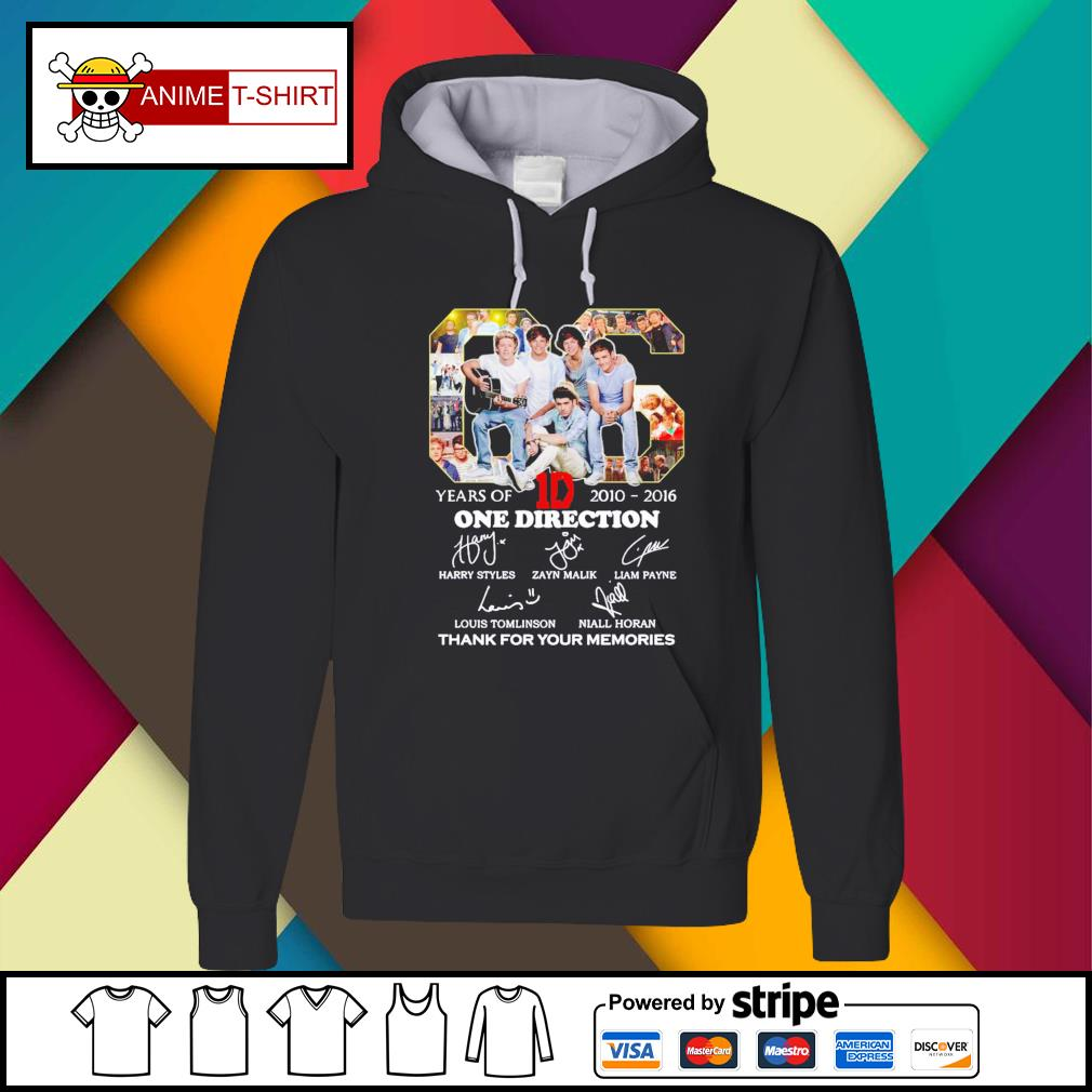 06 Years Of 1D One Direction 2010 2016 thanks for the memories signatures Hoodie