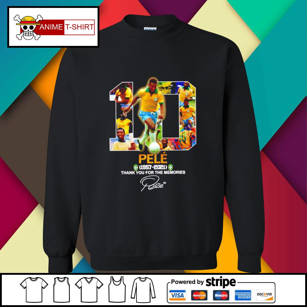 10 pele 1957 2021 thank you for the memories signature sweater