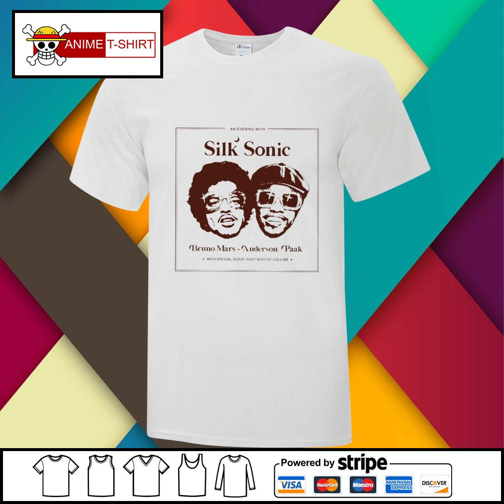 An evening with Silk sonic bruno mars anderson paak shirt