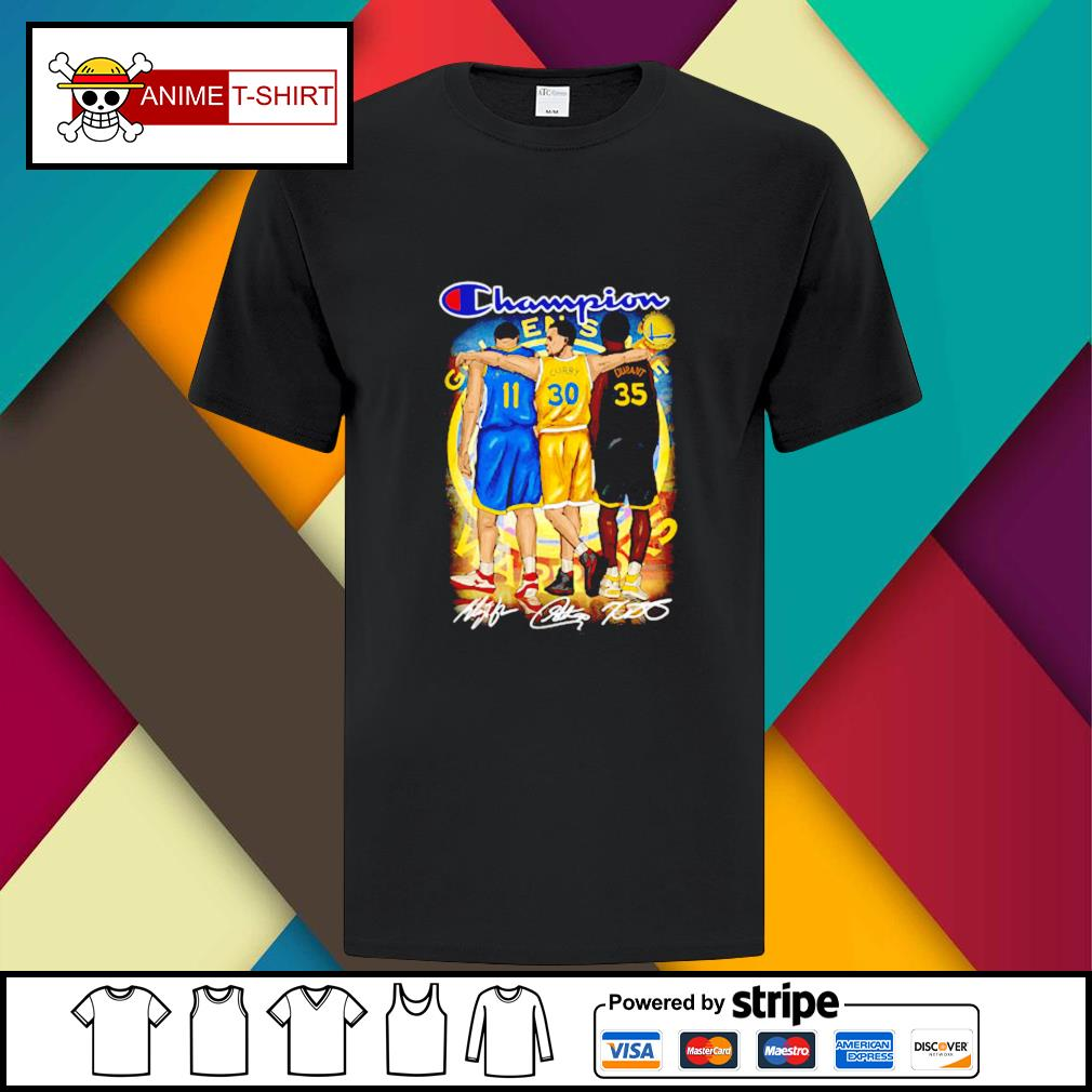 Champion Golden State Warriors Stephen Curry Klay Thompson and Kevin Durant signature shirt
