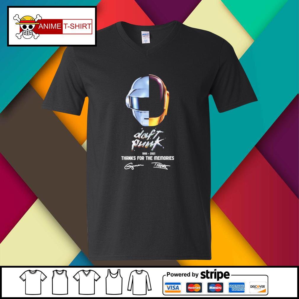 Daft Punk 1993 2021 thanks for the memories signature v-neck-t-shirt