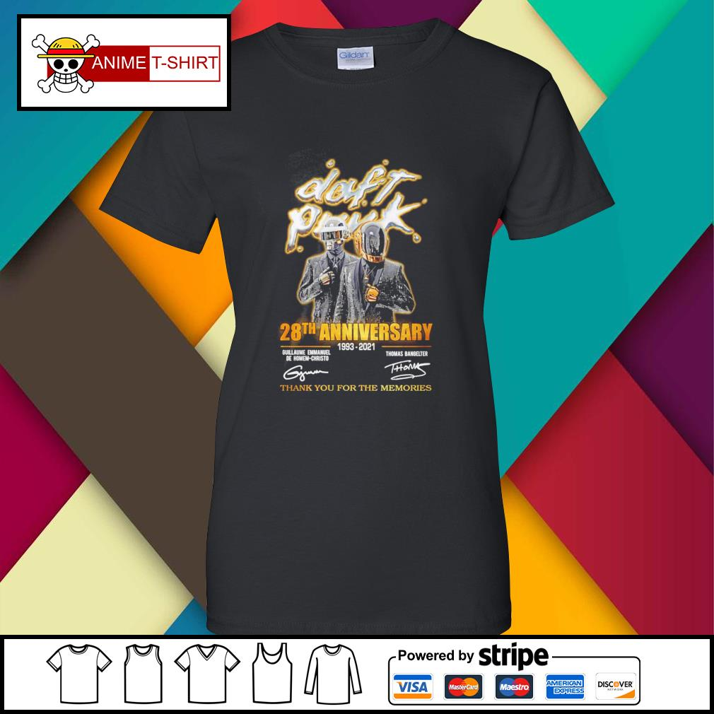 Daft Punk 28th anniversary 1993 2021 thank you for the memories signature ladies-tee