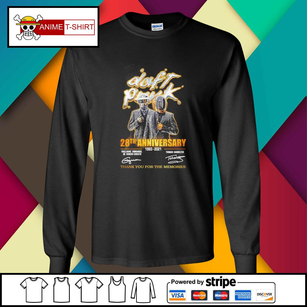 Daft Punk 28th anniversary 1993 2021 thank you for the memories signature longsleeve-tee