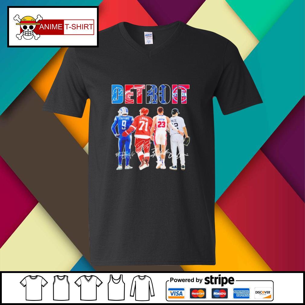 Detroit Stafford Larkin Griffin Mize signature v-neck-t-shirt
