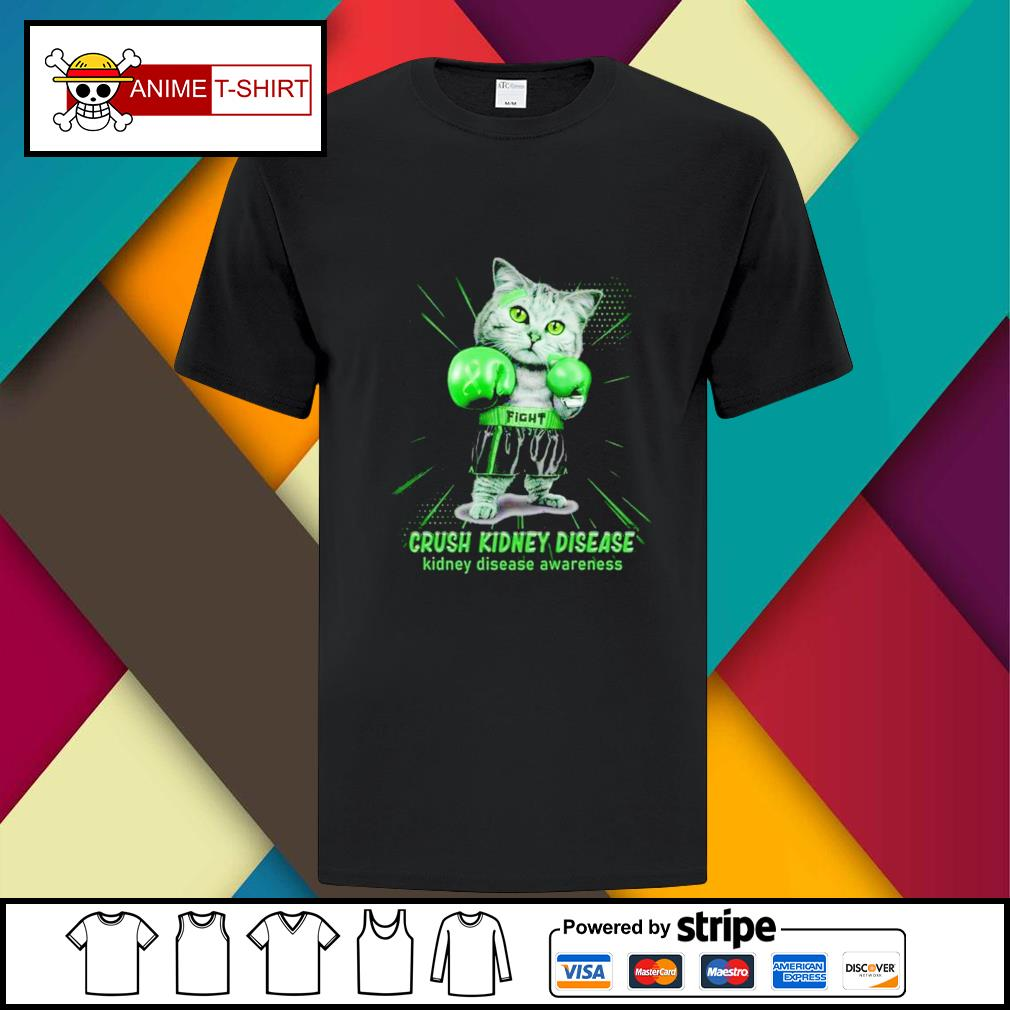 Fight crush kidney sisease boxing cat kidney disease awareness shirt