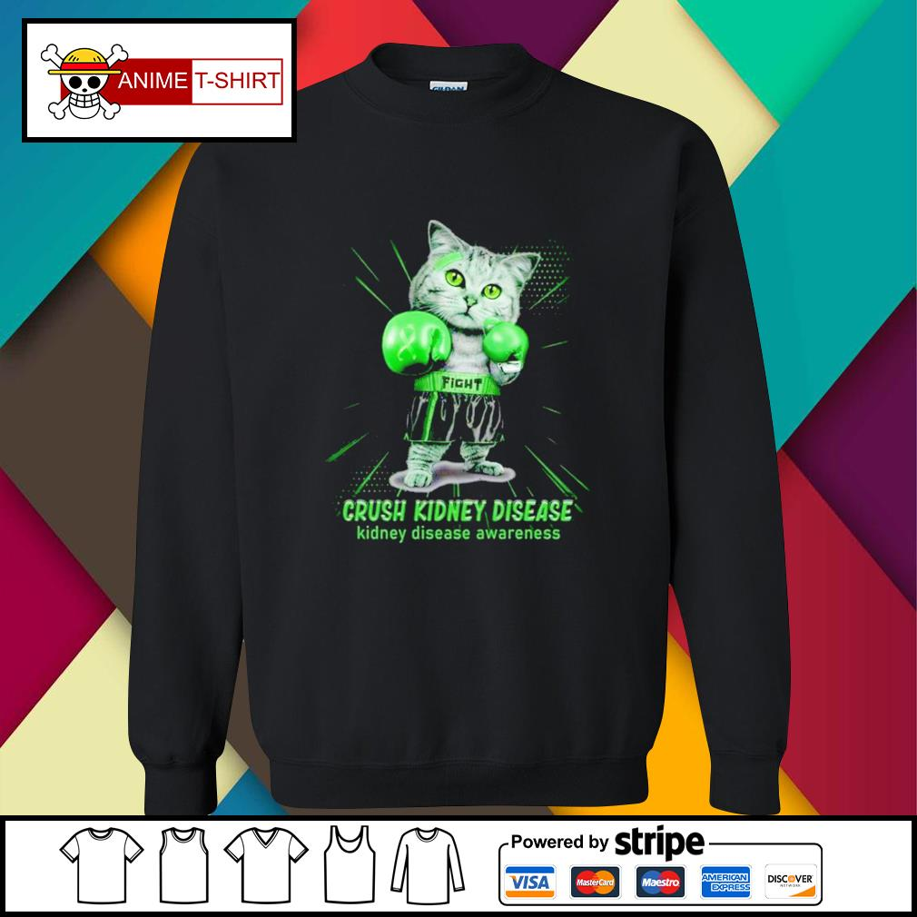 Fight crush kidney sisease boxing cat kidney disease awareness sweater