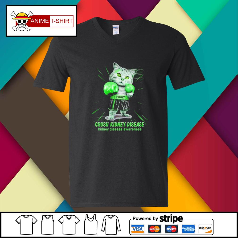 Fight crush kidney sisease boxing cat kidney disease awareness v-neck-t-shirt