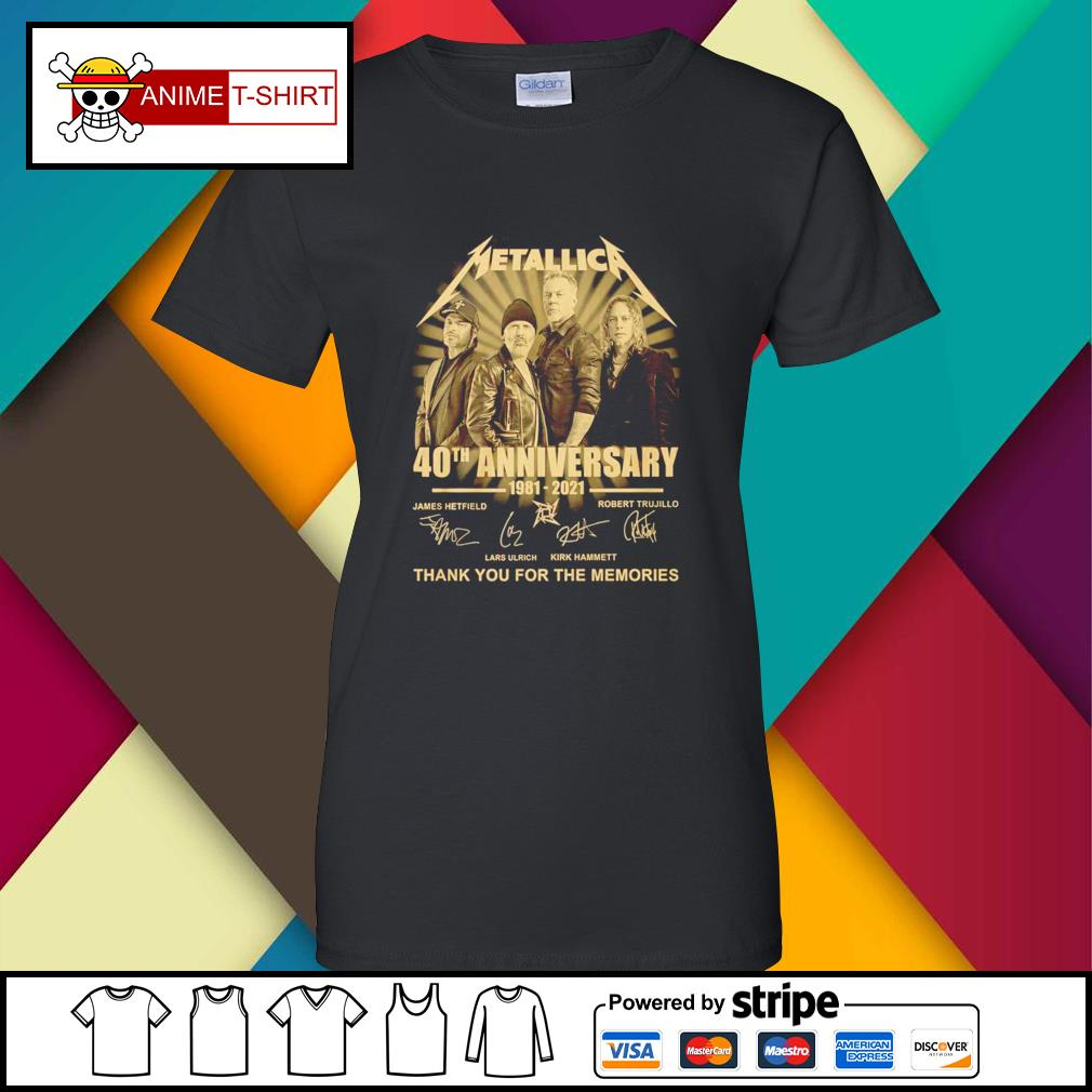 Metallica 40th anniversary 1981 2021 thank you for the memories signature ladies-tee