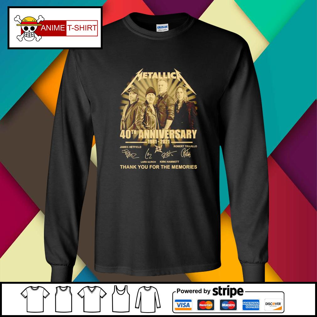 Metallica 40th anniversary 1981 2021 thank you for the memories signature longsleeve-tee