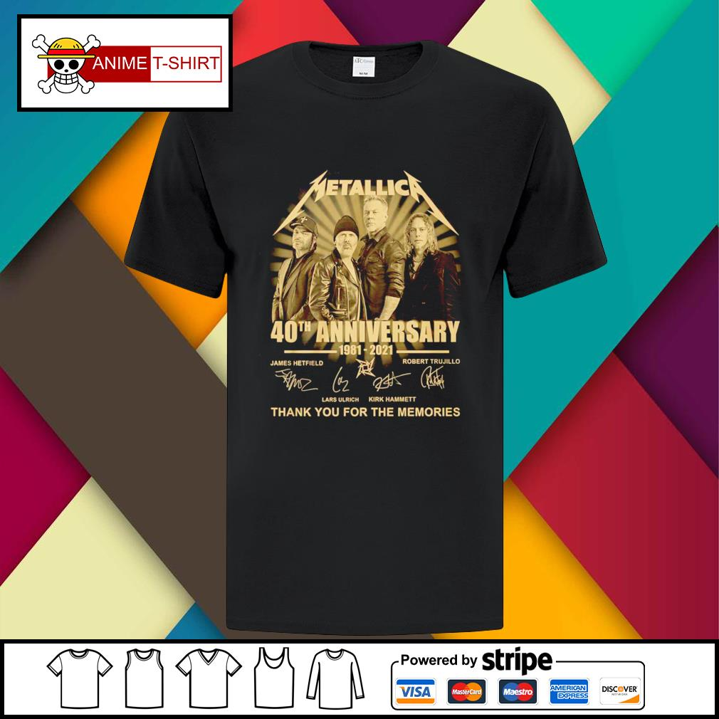 Metallica 40th anniversary 1981 2021 thank you for the memories signature shirt