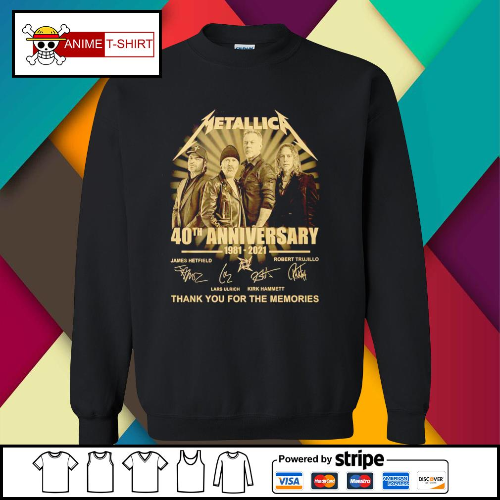 Metallica 40th anniversary 1981 2021 thank you for the memories signature sweater