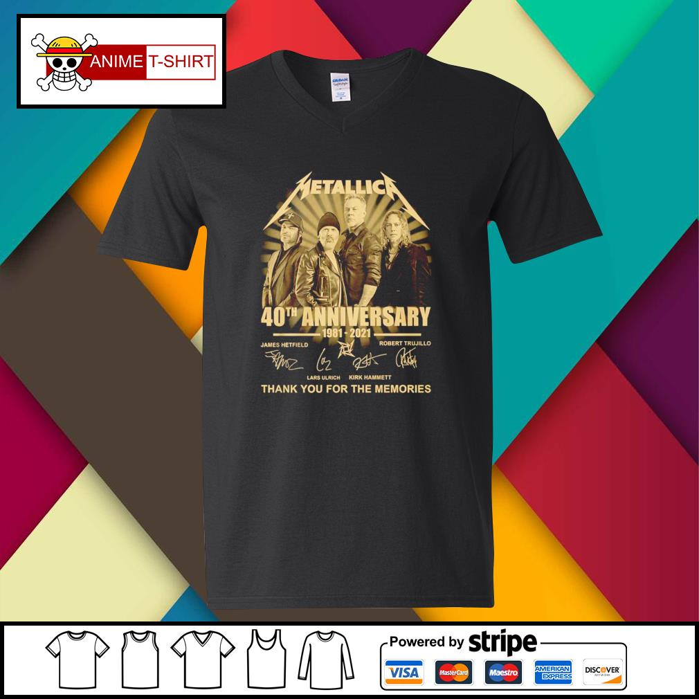 Metallica 40th anniversary 1981 2021 thank you for the memories signature v-neck-t-shirt