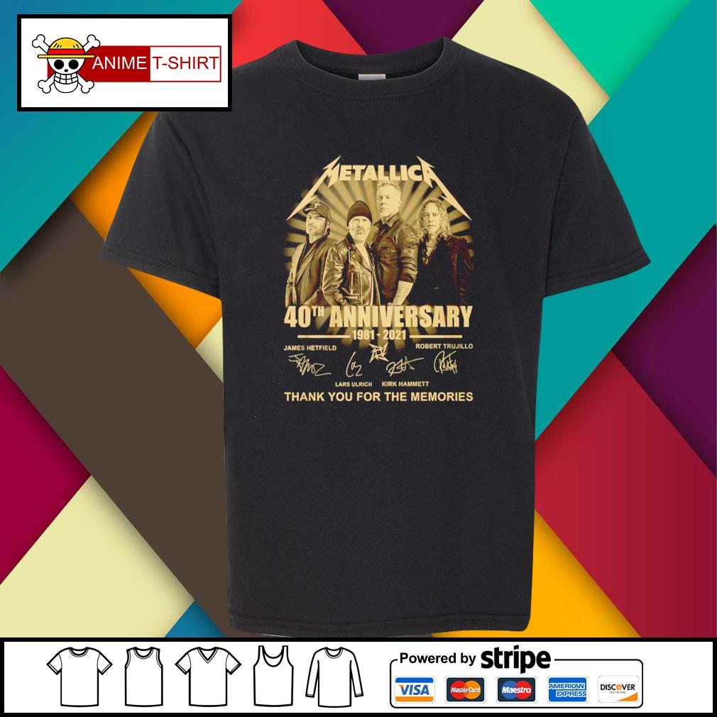 Metallica 40th anniversary 1981 2021 thank you for the memories signature youth-tee