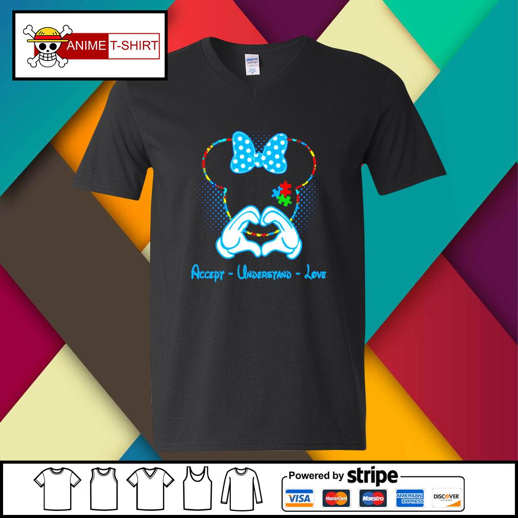 Mickey mouse accept understand love v-neck-t-shirt
