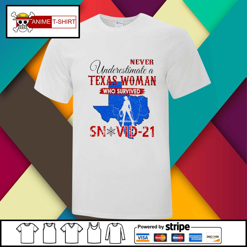 Never underestimate a texas woman who survived snovid-21 shirt