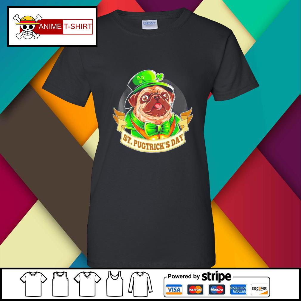 St. Patrick's Day Pug with a leprechaun hat and shamrock ladies-tee