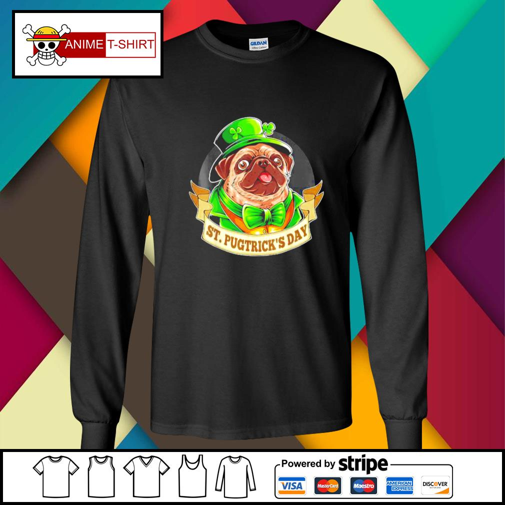 St. Patrick's Day Pug with a leprechaun hat and shamrock longsleeve-tee