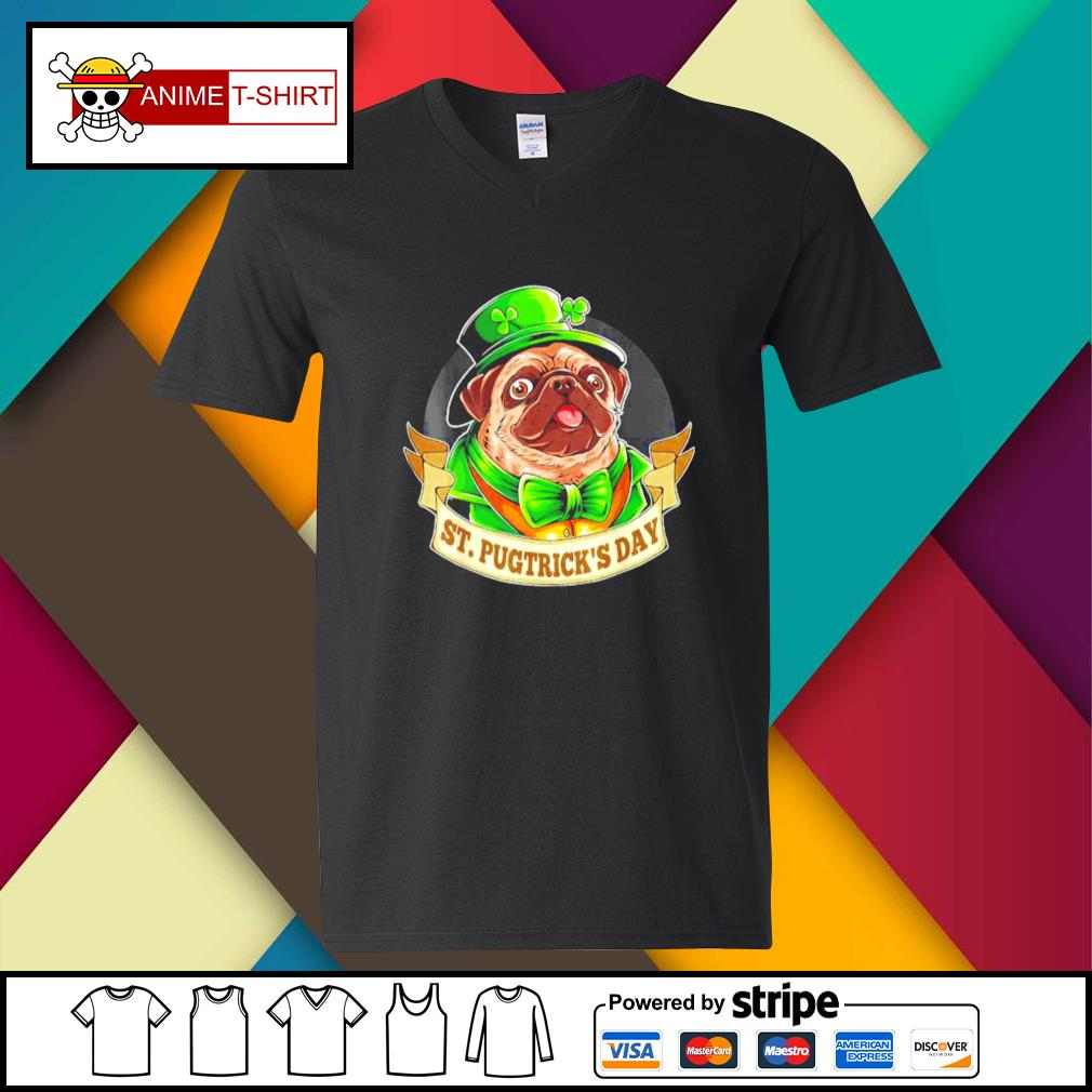 St. Patrick's Day Pug with a leprechaun hat and shamrock v-neck-t-shirt