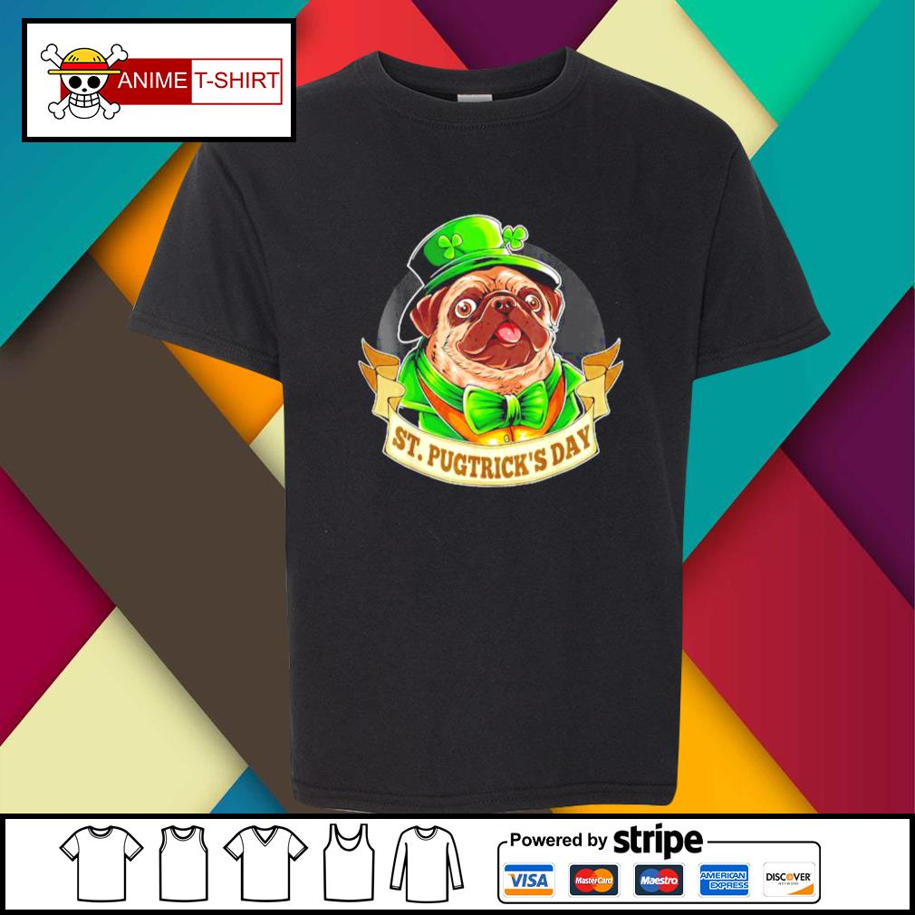 St. Patrick's Day Pug with a leprechaun hat and shamrock youth-tee