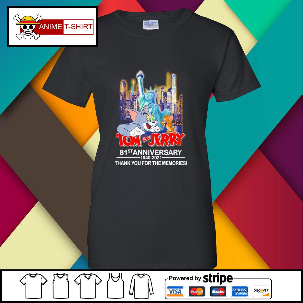 Tom and Jerry 81st anniversary 1940 2021 thank you for the memories signature ladies-tee