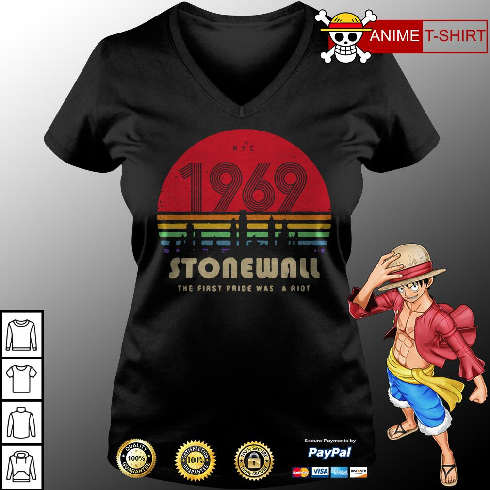 1969 Stonewall the first fride was a riot v-neck t-shirt