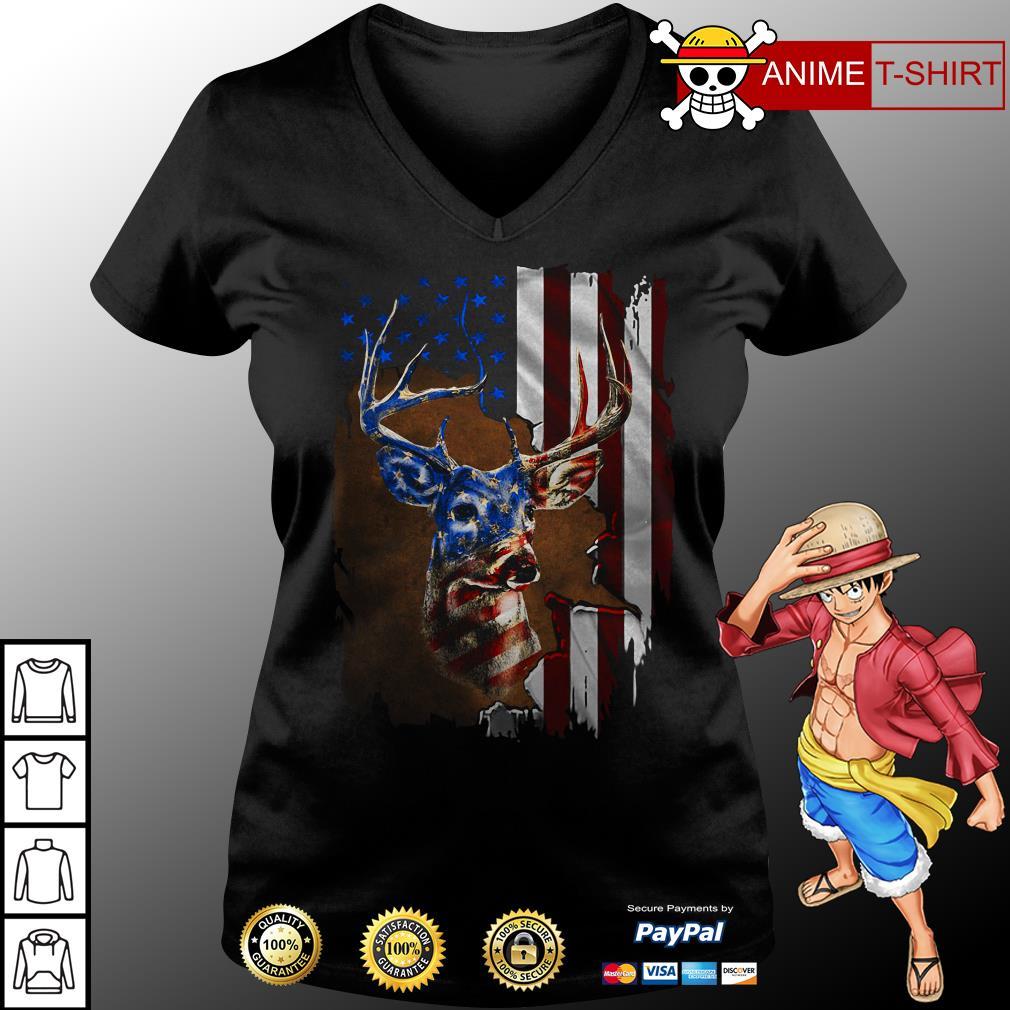 4th July Independence Day deer v-neck t-shirt