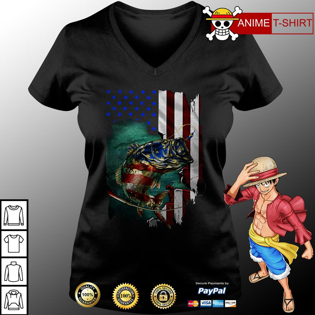 4th July Independence Day fishing v-neck t-shirt