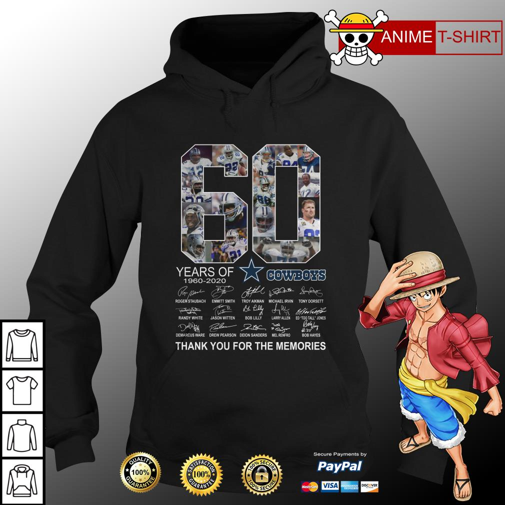 60 Years of 1960 - 2020 Dallas Cowboys signature thanks you for the memories hoodie