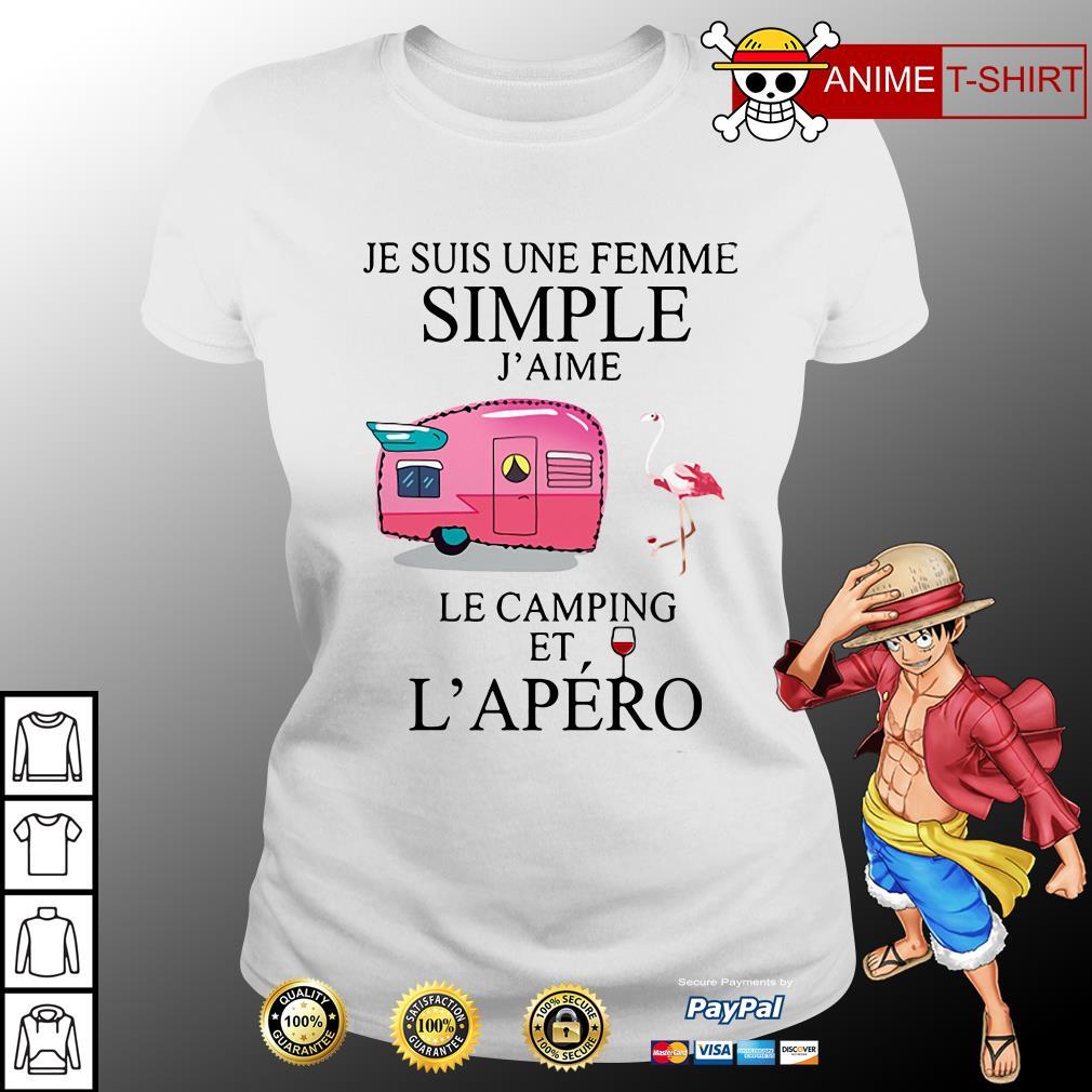 Flamingo Je Suis Une femme simple j'aime le camping et L'apero ladies tee