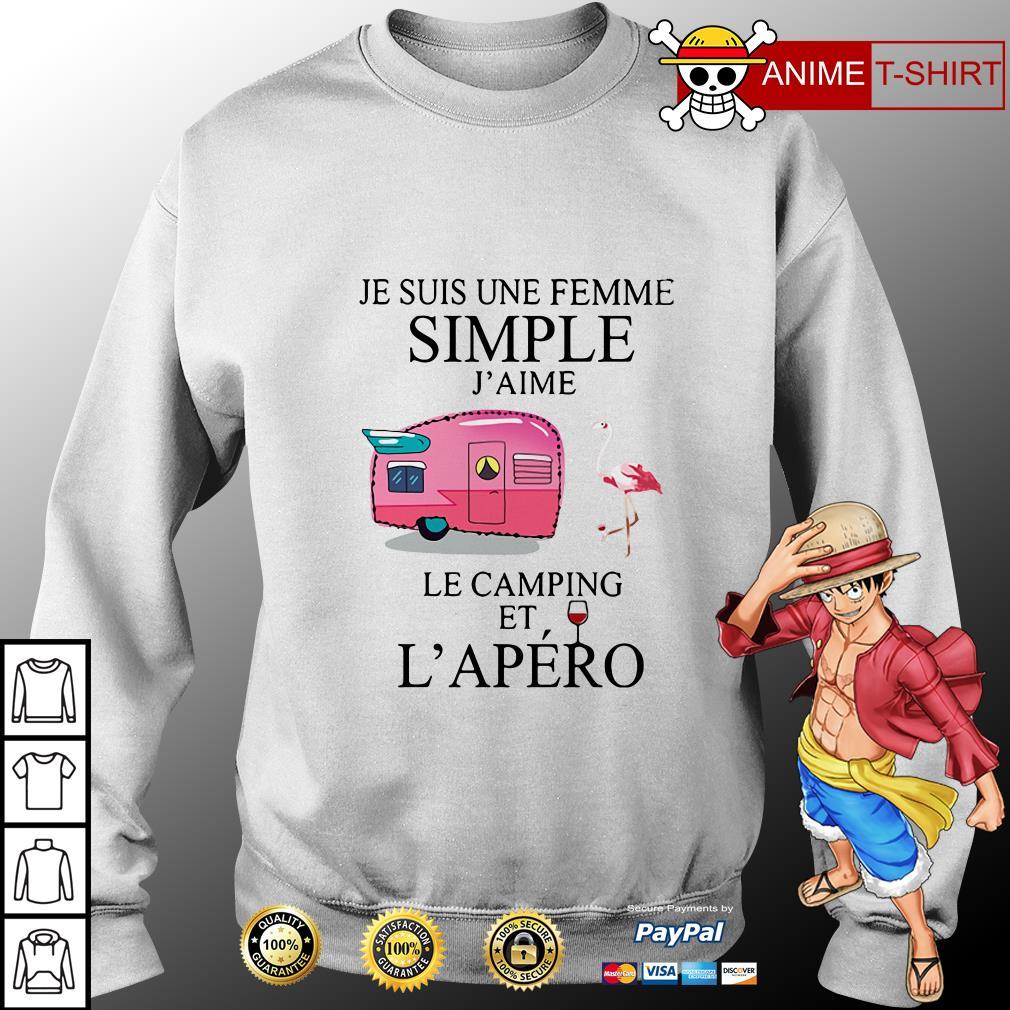 Flamingo Je Suis Une femme simple j'aime le camping et L'apero sweater