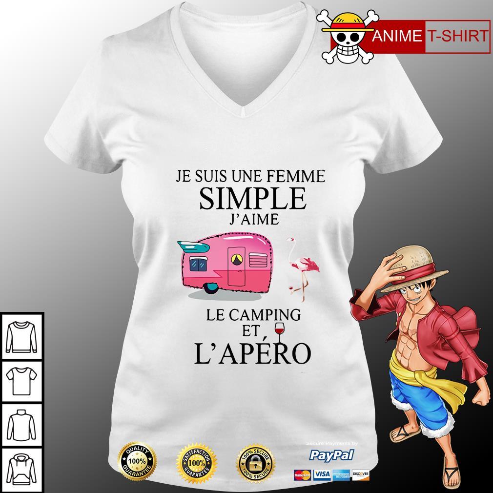 Flamingo Je Suis Une femme simple j'aime le camping et L'apero v-neck t-shirt