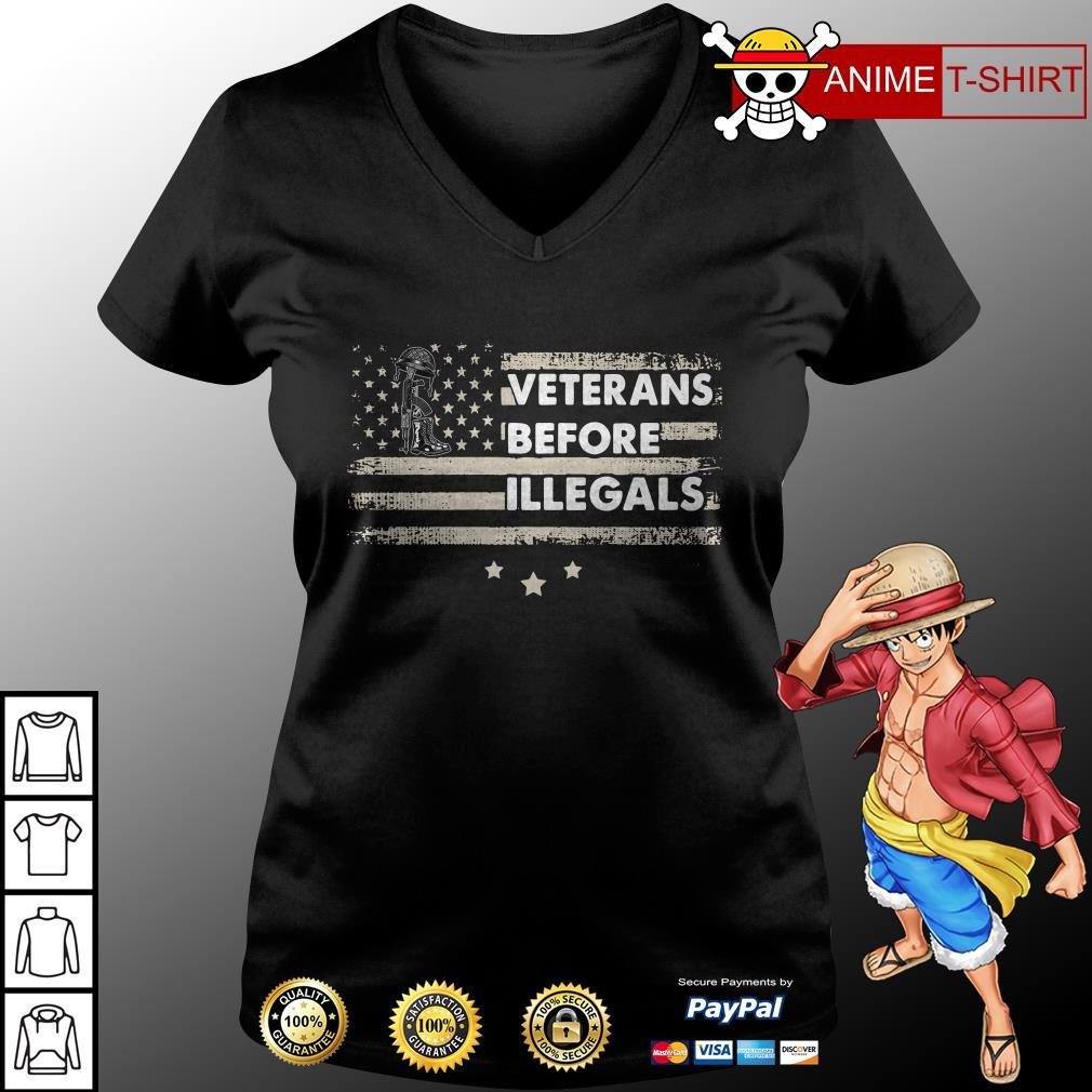 america veterans before illegals v-neck t-shirt