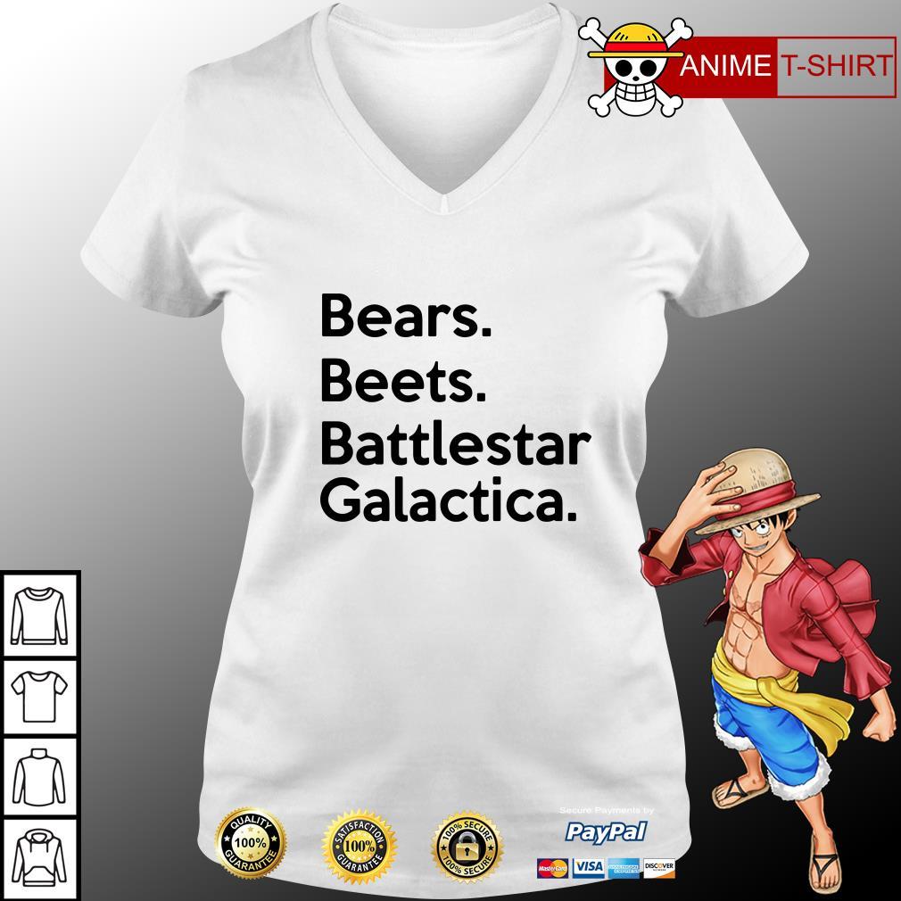 bears beets battlestar galactica v-neck t-shirt