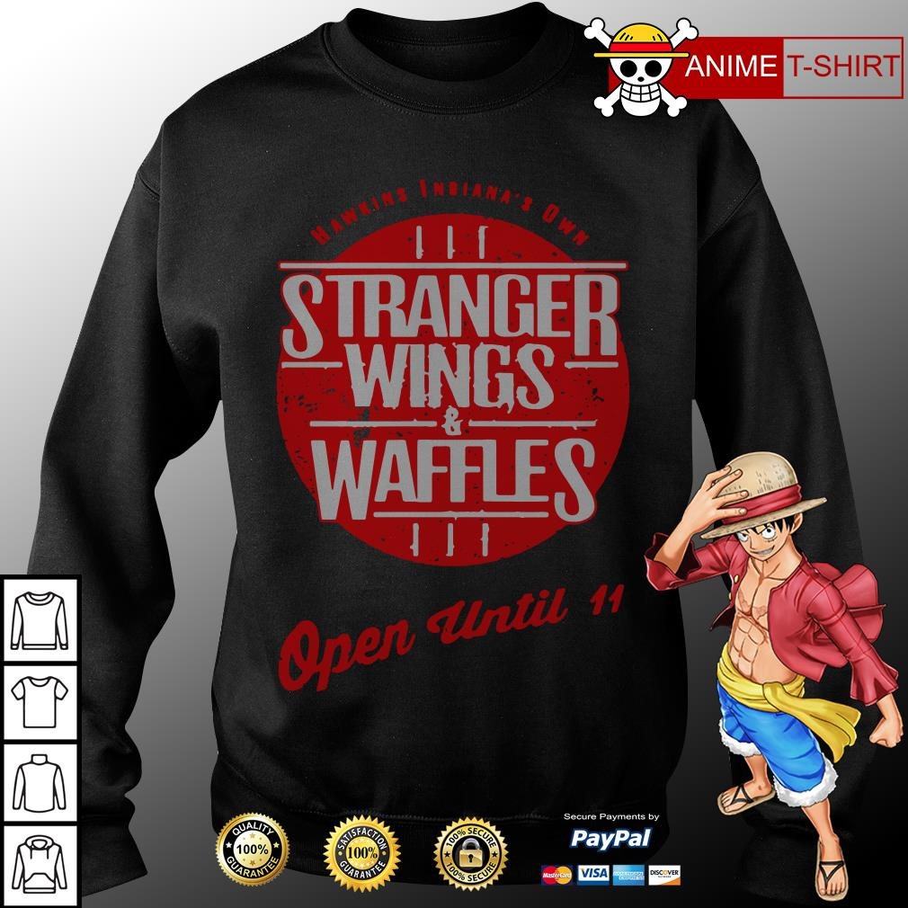 Hawkins Indiana's Own Stranger Wings and Waffles open until 11 sweater