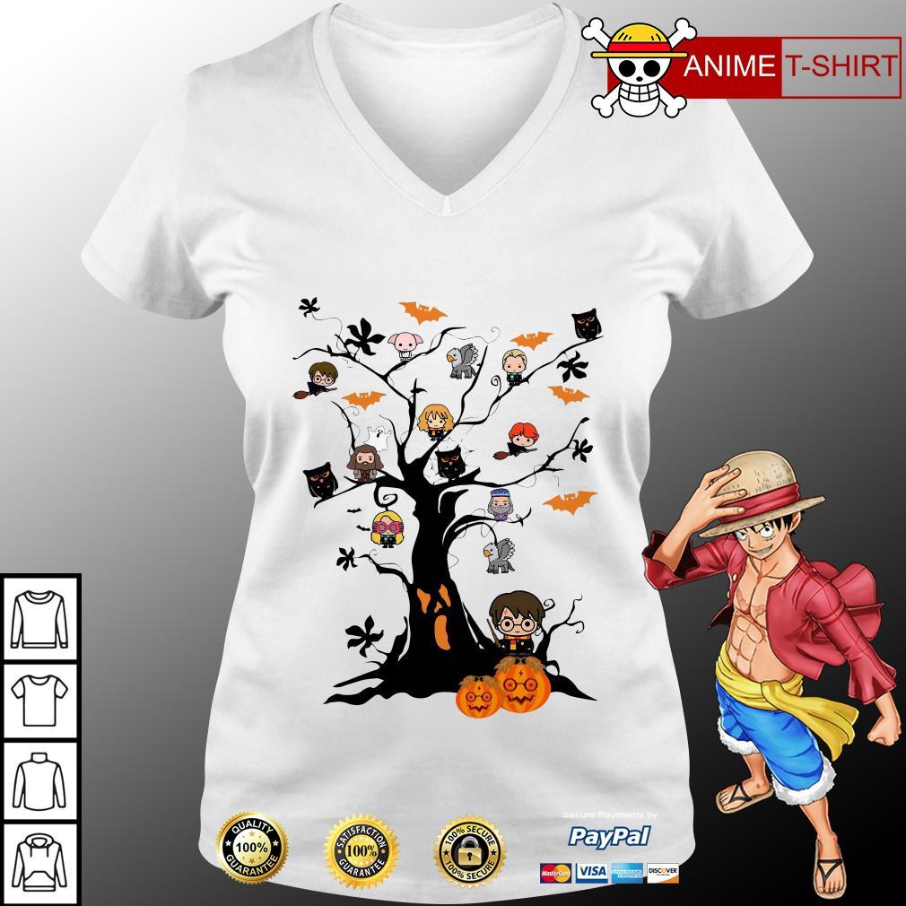 Harry potter chibi tree halloween v-neck t-shirt
