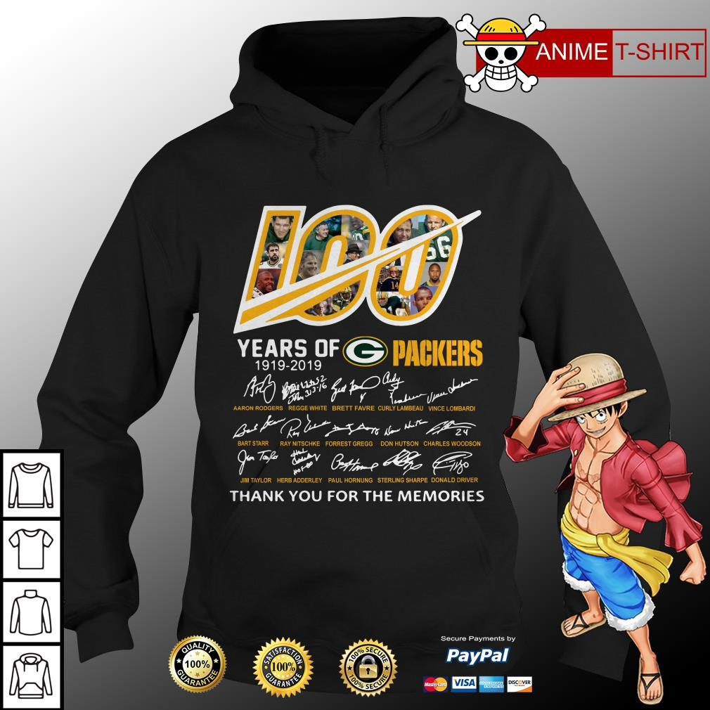 100 Years of Green Bay Packers 1919-2019 signatures hoodie