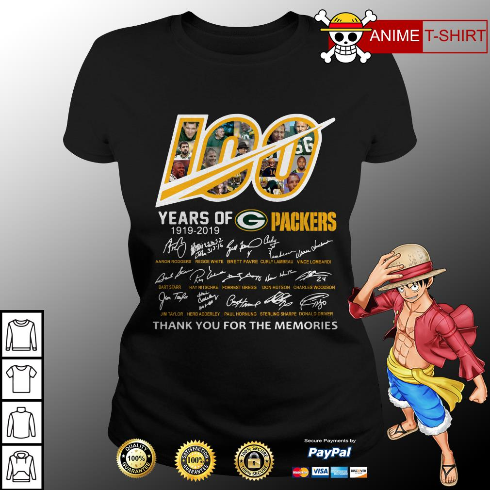 100 Years of Green Bay Packers 1919-2019 signatures ladies tee