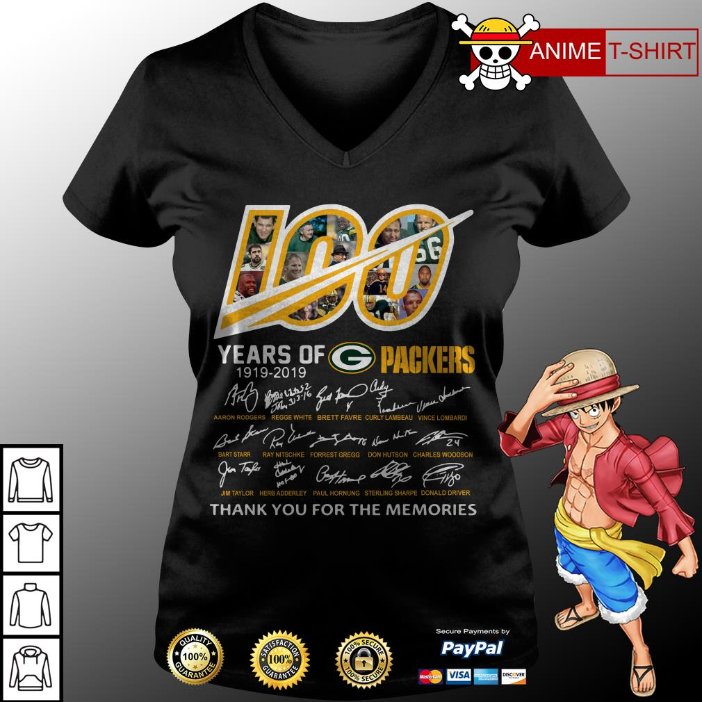 100 Years of Green Bay Packers 1919-2019 signatures v-neck t-shirt