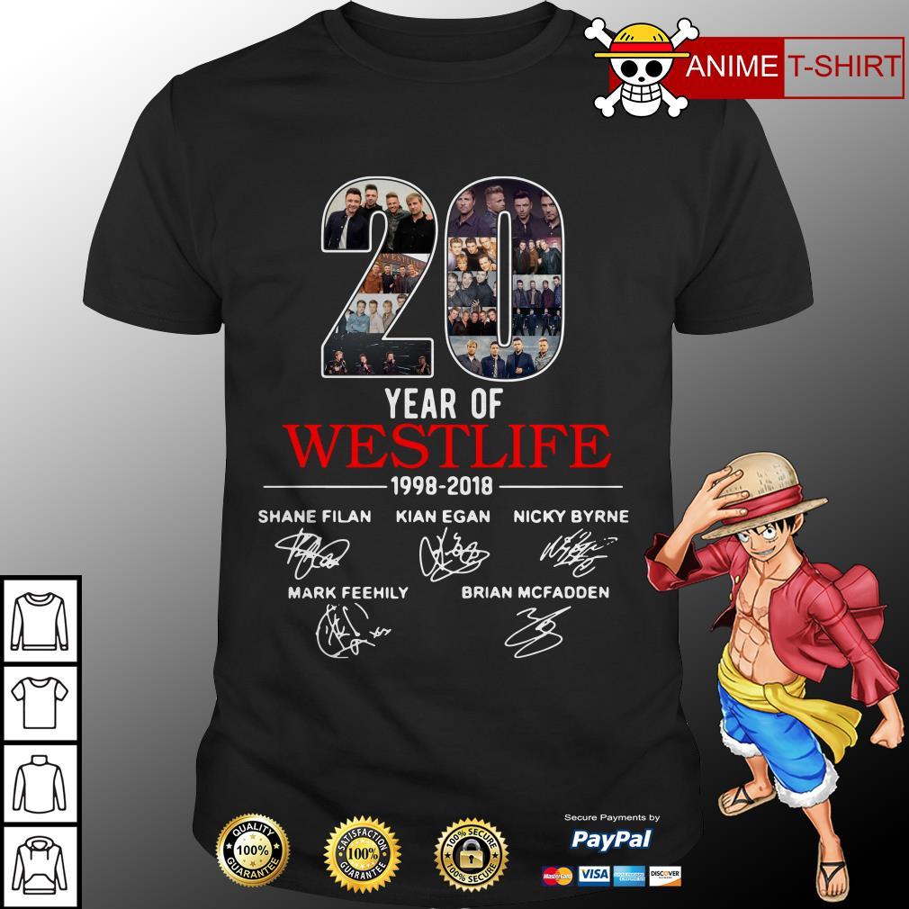 20 year of Westlife 1998 2018 signature shirt