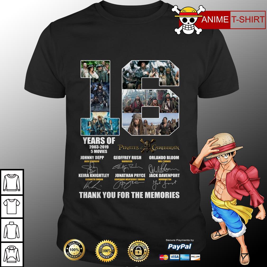 16 Years 2003 2019 Of Disney Pirates Of The Caribbean signature Shirt