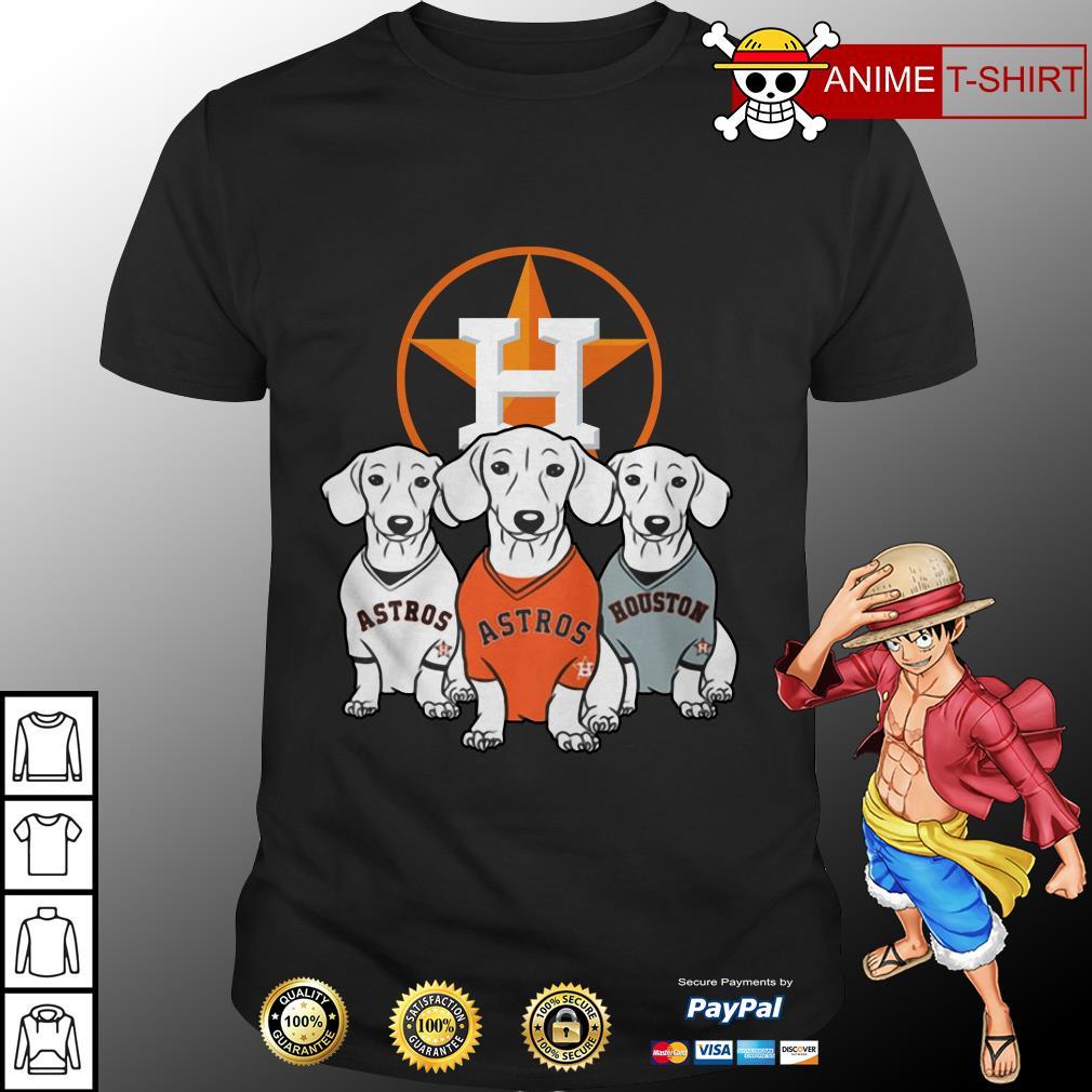 Dachshund dog and Houston Astros baseball shirt