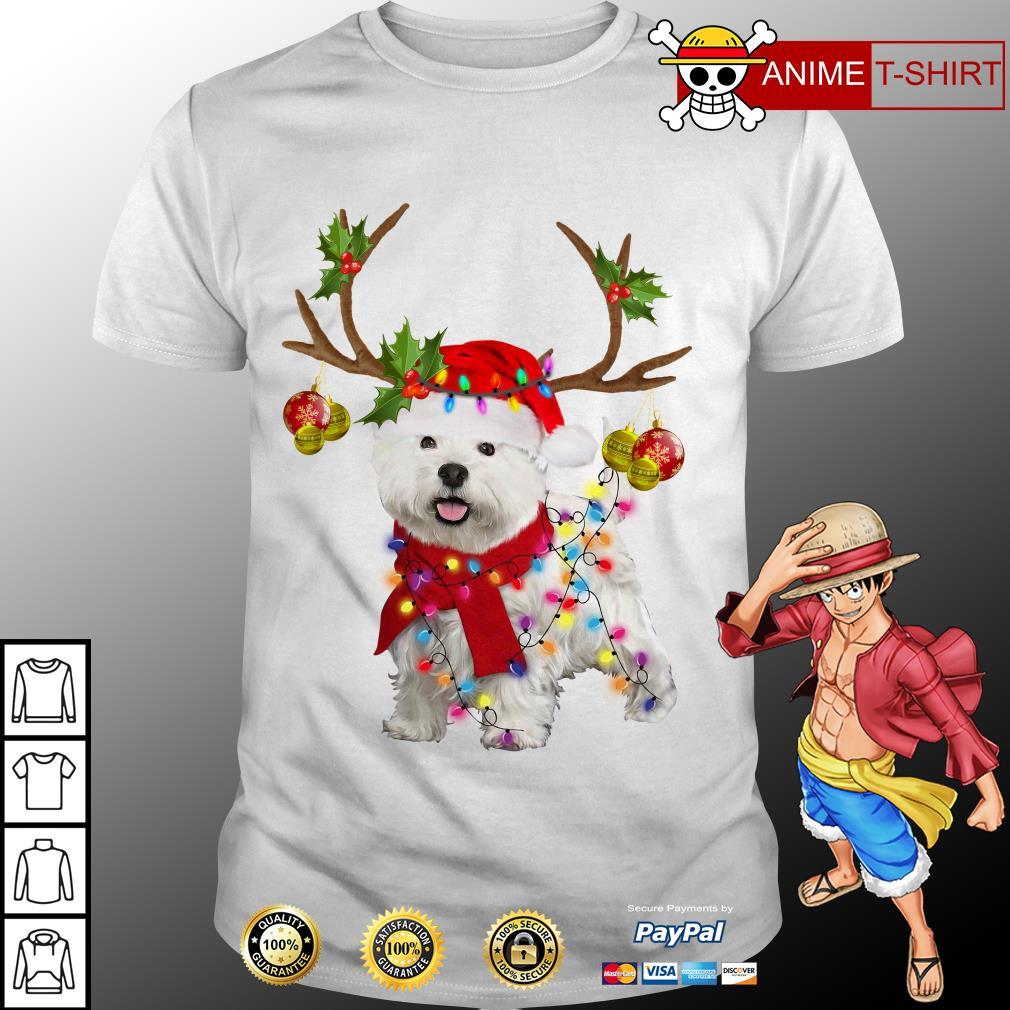 Bichon Frise Dog reindeer Santa Christmas shirt