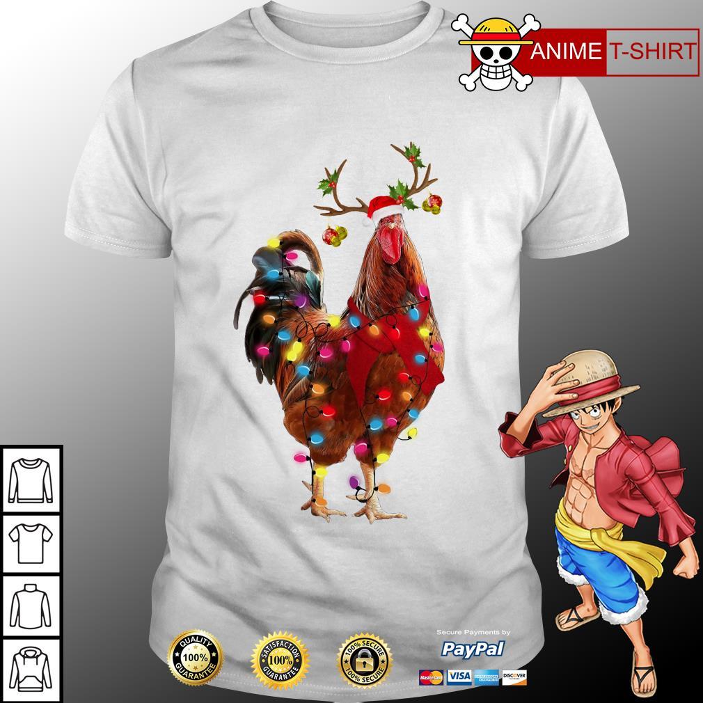 Christmas Chicken Wearing Santa Hat Shirt