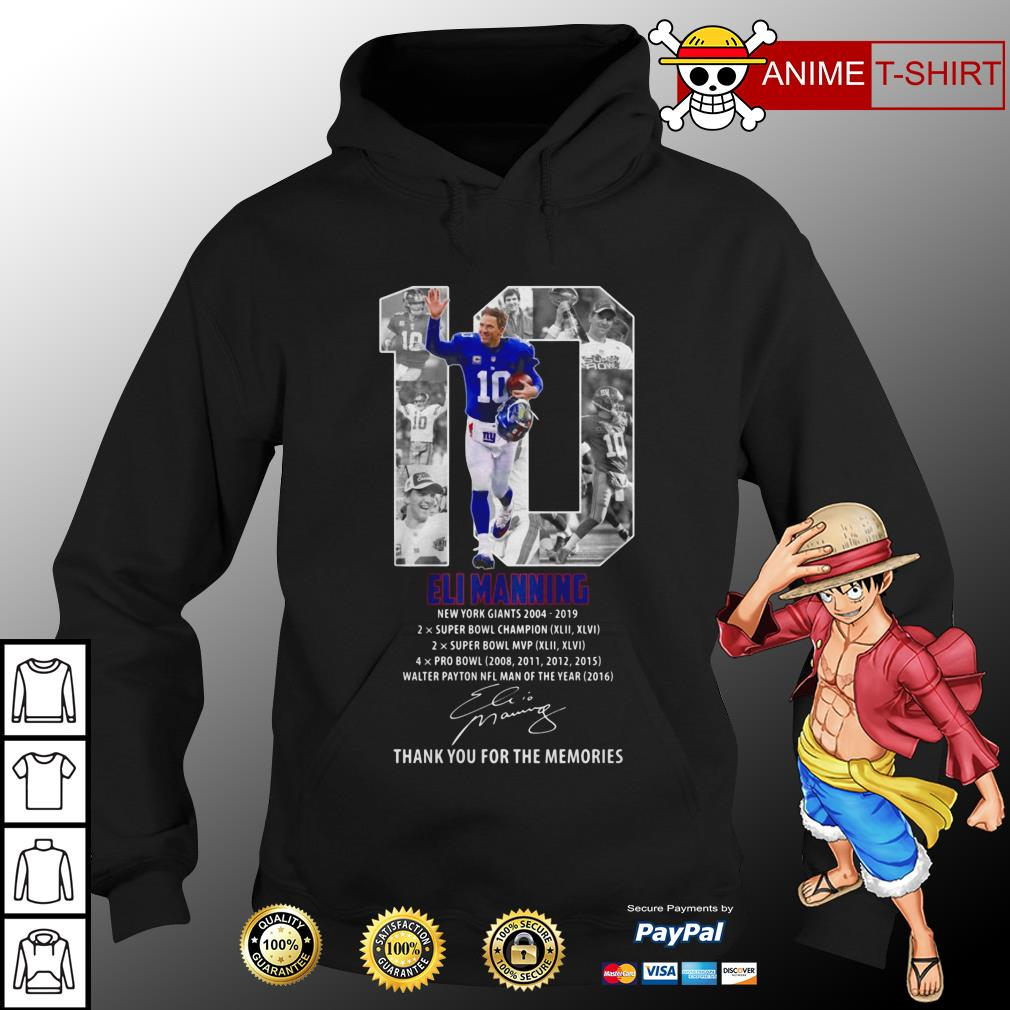 10 Eli Manning Thank You For The Memories Signature hoodie
