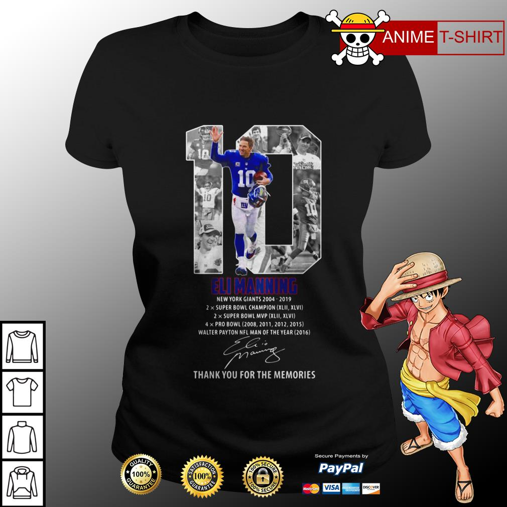 10 Eli Manning Thank You For The Memories Signature ladies tee